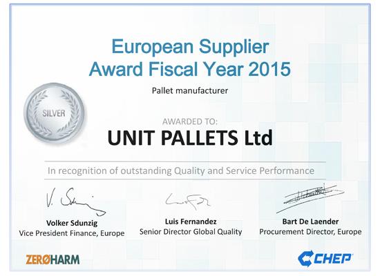 CHEP UPL Silver Certificate