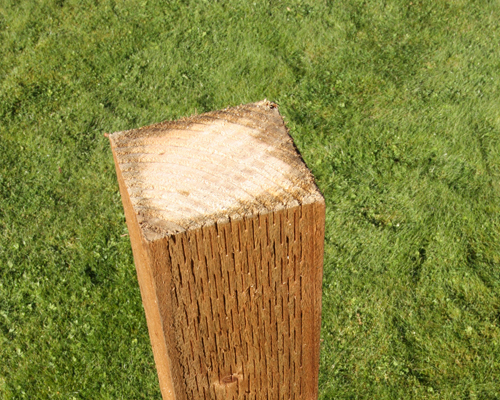 Brown treated, incised fence post with 15 year warranty