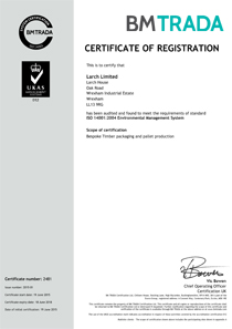 Larch 14001 certificate