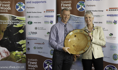 Jo O'Hara of Forestry Commission Scotland presents the James Jones Trophy at Scotland's Finest Woods Awards