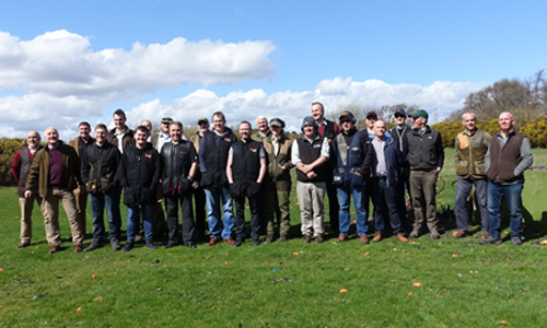 Teams at the TTBS Scotland clay pigeon shoot