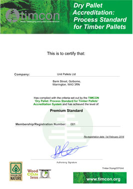 Unit Pasllets Timber Drying Certificate