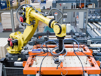 Robot production at James Jones pallet facility in Golborne